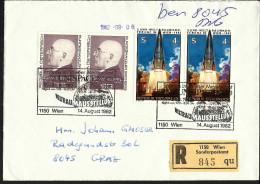 """Österreich 1982, Einschreiben, Sonderstempel """"UNISPACE"""" ANK Nr:1743+1746  Sonderpostamt 1150 Wien, - 1945-.... 2nd Republic"""