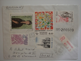 France 1983 REGISTERED Commercial Cover To Sweden Nice Stamps - France