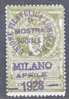 ITALY   VIGNETTE  MILANO  EXPO.  OVPT.  STAMP  EXPO. 1928  * - Italy