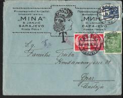 Österreich, 15 Gr.Portomarke Auf Bedarfsbrief SARAJEVO-GRAZ 1936 - 1918-1945 1st Republic