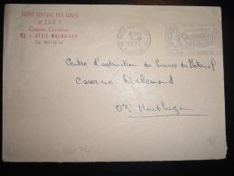 LETTRE OBL.MEC. 1-9-1971 RUEIL-MALMAISON PPAL (92 HAUTS DE SEINE) + CACHET REGIMENTAIRE ROUGE POUR MONTLUCON (03) - Marcophilie (Lettres)