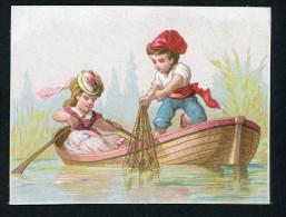 Ancienne Chromo Lith. Testu & Massin TM32-47, Couple D´amoureux Sur Une Barque, Filet De Pêche, Sans Publicité - Other