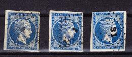 Griechenland - Lot Von 3 Gebrauchte 20 Lepta Blau - - 1861-86 Grands Hermes