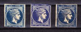 Griechenland - Lot Von 3 Ungebrauchte 20 Lepta Blau * - Farbnuancen - - 1861-86 Grands Hermes