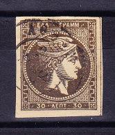 Griechenland - 30 Lepta Braun Gestempelt - 1861-86 Grands Hermes