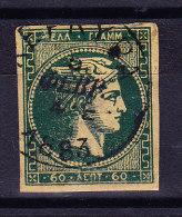 Griechenland - 60 Lepta Russischgrün Gestempelt Mi.#46 - 1861-86 Grands Hermes