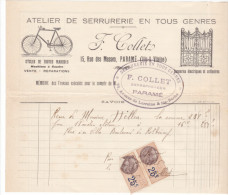 Facture Recu Parame -rue Masses - 35 France1925-1932 -F Collet Serrurerie Cycles Sonneries Electriques Machine A Coudre - 1900 – 1949