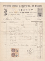 Facture Devis Parame -bd Rochebonne- 35 France1929 -F TERCY Charpentes Menuiserie -Helleu - France