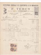 Facture Devis Parame -bd Rochebonne- 35 France1929 -F TERCY Charpentes Menuiserie -Helleu