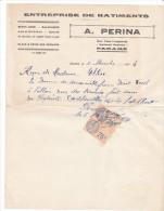 Facture Devis Parame -rueL Lempreur- 35 France1934- A PERINA -batiments Beton Arme Maconnerie Canalisations - France