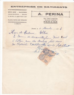 Facture Devis Parame -rueL Lempreur- 35 France1934- A PERINA -batiments Beton Arme Maconnerie Canalisations