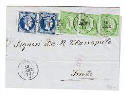Griechenland - Brief 55 Lepta Von Patpai ? 30.9.1873 Nach Triest Mit AK Stempel - 1861-86 Grands Hermes