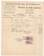 Facture Devis Parame -rueL Lempreur- 35 France1929- A PERINA Dal Canton -batiments Beton Arme Maconnerie Canalisations - 1900 – 1949
