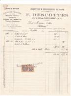 Facture Devis Saint Malo Sillon- 35 France1926 -DESCOTTES F -briques Pleines Creuses Chaufournerie Briqueterie