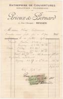 Facture Devis RENNES Rue Chicogné 35 France1925 -PRIOUX Et BERNARD Couvertures Plomberie Zinguerie - France