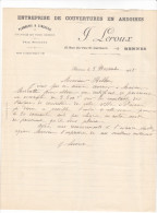 Facture Devis RENNES Vau Saint Germain 35 France1925 LEROUX J -couvertures Ardoises Plomberie Zinguerie - France