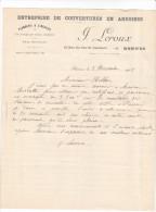 Facture Devis RENNES Vau Saint Germain 35 France1925 LEROUX J -couvertures Ardoises Plomberie Zinguerie