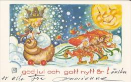 CPA MERRY CHRISTMAS- CHILDRENS, ELFS, MOON