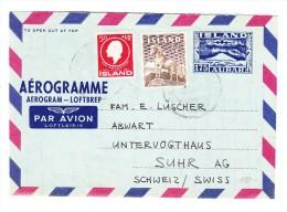 1963 - Island Aerogram Mit Zusatzfrankatur Nach Suhr AG Schweiz - Poste Aérienne