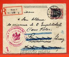 ALLEMAGNE LETTRE RECOMMANDEE CENSUREE DE 1917 DE MAINZ POUR CAUX SUISSE - Allemagne