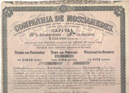 Titre Au Porteur Compagnie De Mossamedes Lisbonne Portugal Angola Namibie 5 Actions De 25 Francs N° 6610 - Afrique