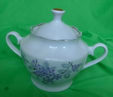 Vintage Latvia USSR Soviet Pottery Porcelain RPR Riga SUGAR BOWL Floral Pattern - Signed