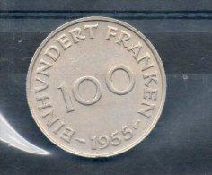 Sarre. 100 Franken. 1955. - Sarre (1954-1955)
