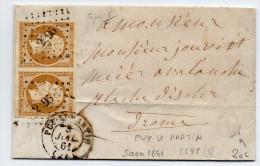 """1861 - LETTRE Avec BOITE RURALE """"I"""" De SAOU & PC 2595 Du PUY SAINT MARTIN (DROME) Sur PAIRE N° 13 - Storia Postale"""