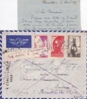 """DAHOMEY - 1943 - RARE ENVELOPPE AVION De PARAKOU Pour MEDEA (ALGERIE) - """"INACHEMINABLE"""" => RETOUR Avec TAXE - Marcophilie (Lettres)"""