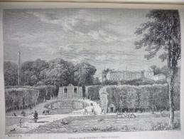 Chateau Et Parc De Saint Cloud , Gravure Sargent Dessin Daubigny1866 Avec Texte - Documenti Storici