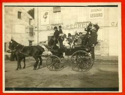 PHOTO Photographie Ancienne - Attelage Devant Le CAFE Des PÊCHEURS (panneau Essence LESOURD - Vers 37 Tours ?) - Photos