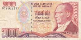 Billets -  B1242 -  Turquie  - 20 000 Turk Lirasi  ( Type, Nature, Valeur, état... Voir 2 Scans) - Turquie