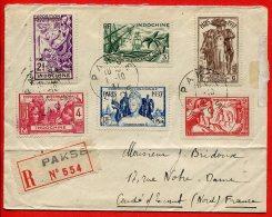 Indochine          193/198    Sur Lettre Recommandé De Pakse, Cachet De Saïgon  Et Cachet D'arrivée - Briefe U. Dokumente