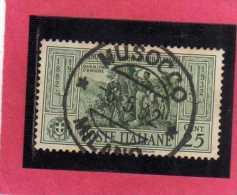 ITALIA REGNO ITALY KINGDOM 1932 CINQUANTENARIO MORTE GIUSEPPE GARIBALDI 50TH ANNIVERSARY DEATH CENT. 25 USATO USED - 1900-44 Victor Emmanuel III