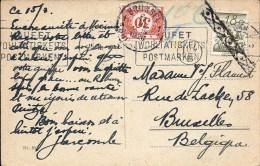 CP Affranchie 18g Annulée Par La ROULETTE Belge S/CP De 1926 V. BRUXELLES - TAXEE 30c Par TTx Belge 35. TB - Cartas