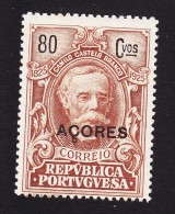 Azores, Scott #251, Mint Hinged, Castello-Branco Issue Overprinted, Issued 1925 - Azores