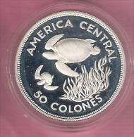 COSTA RICA WWF 50 COLONES 1974 AG PROOF TURTLES