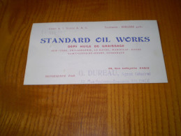 CDV  Huile De Graissage Standard Oil Works G. Dureau à Valence , Drôme . Agent Général - Visitekaartjes