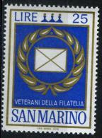 SAINT MARIN 822*  25l  Or Et Bleu  Hommage Aux Vétérants De La Philatélie - San Marino