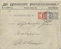 NETHERLANDS 1911 –DE GOEDKOOPECOVER  MAILED FROM ROTTERDAM  TO ATHENS /GREECE W 2 STS OF 1-1 ½  CT. POSTM ROTTERDAM  OCT - Brieven En Documenten