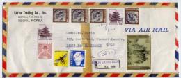COREE DU SUD--DEVANT De Lettre Recommandée De SEOUL Pour PARIS (France)-Jolie Composition De Timbres NON Oblitérés - Korea, South