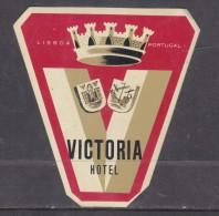 Victoria Hotel, Lisbon, Portugal, Stick On Luggage Label - Etiketten Van Hotels