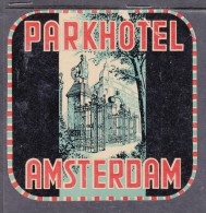 Park Hotel, Amsterdam, Netherlands, Stick On Luggage Label - Etiketten Van Hotels