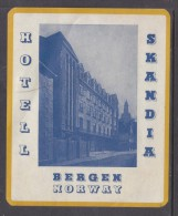 Hotel Scandia, Bergen, Norway, Stick On Luggage Label - Hotel Labels