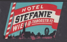 Hotel Stefanie, Vienna, Austria, Stick On Luggage Label - Etiquettes D'hotels