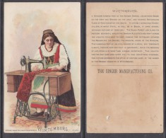 SINGER SEWING MACHINES, Collector / Advertising Card / Users Around The World WURTEMBURG890s - Creative Hobbies