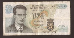 België Belgique Belgium 15 06 1964 20 Francs Atomium Baudouin. 3 A 7691243 - [ 6] Tesoreria