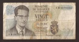 België Belgique Belgium 15 06 1964 20 Francs Atomium Baudouin. 3 B 0970855 - [ 6] Staatskas