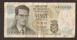België Belgique Belgium 15 06 1964 20 Francs Atomium Baudouin. 3 B 5512622 - 20 Francs