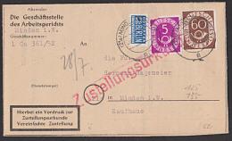 """BRD 5 U. 60 Pf """"Ziffern Mit Posthorn"""" Mit NO Auf Bf Zustellungsurkunde Aus Minden, 5 Pf-Mke Defekt - Briefe U. Dokumente"""